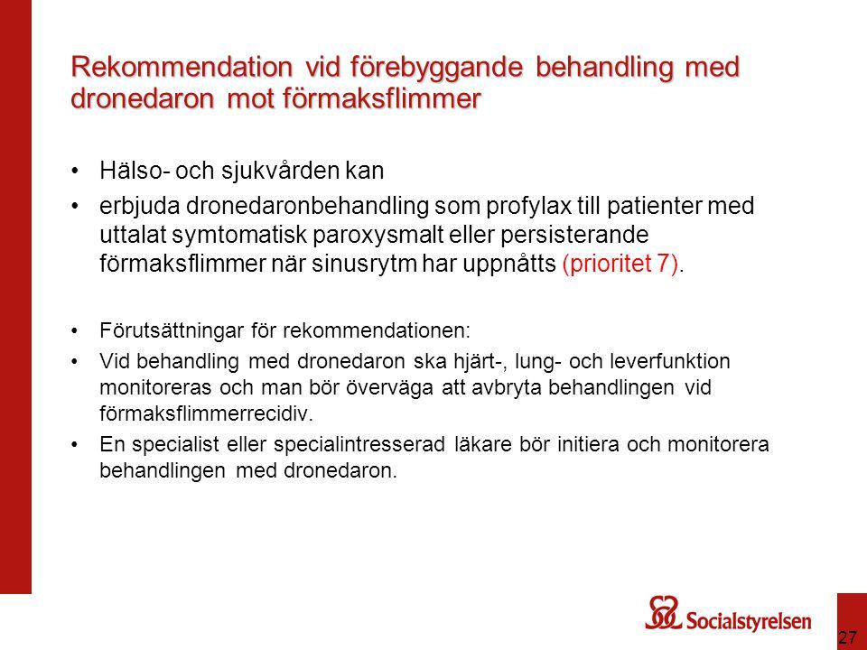 Rekommendation vid förebyggande behandling med dronedaron mot förmaksflimmer