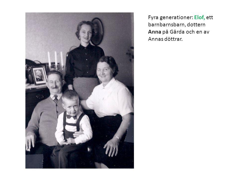 Fyra generationer: Elof, ett barnbarnsbarn, dottern Anna på Gårda och en av Annas döttrar.