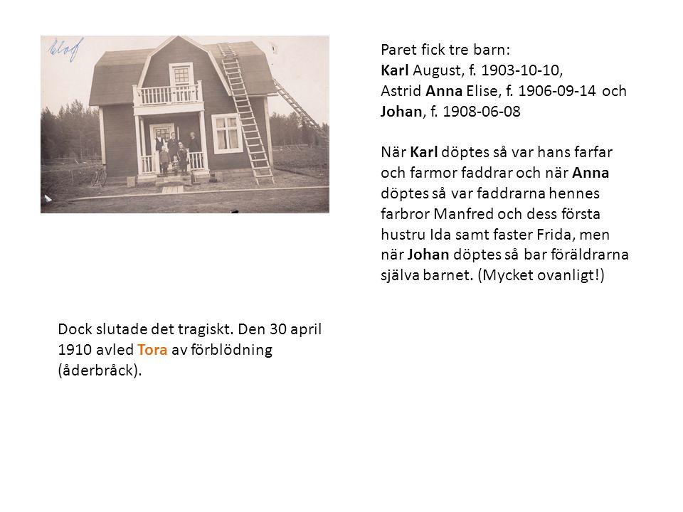 Paret fick tre barn: Karl August, f. 1903-10-10, Astrid Anna Elise, f. 1906-09-14 och. Johan, f. 1908-06-08.