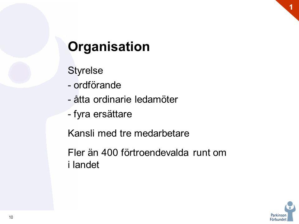 Organisation Styrelse - ordförande - åtta ordinarie ledamöter