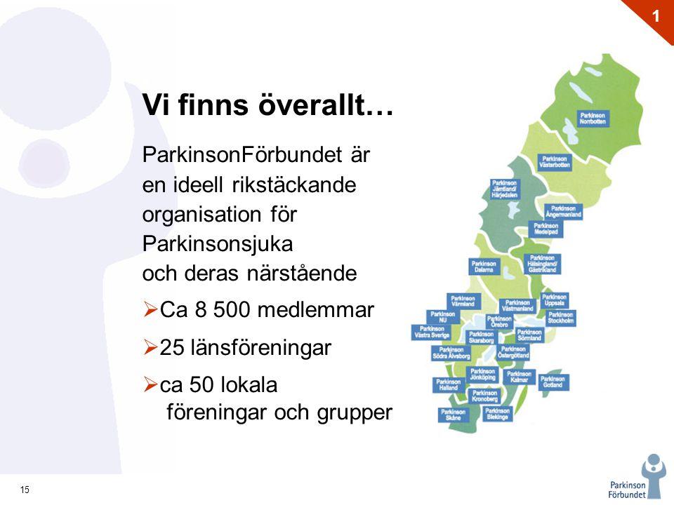 Vi finns överallt… ParkinsonFörbundet är en ideell rikstäckande