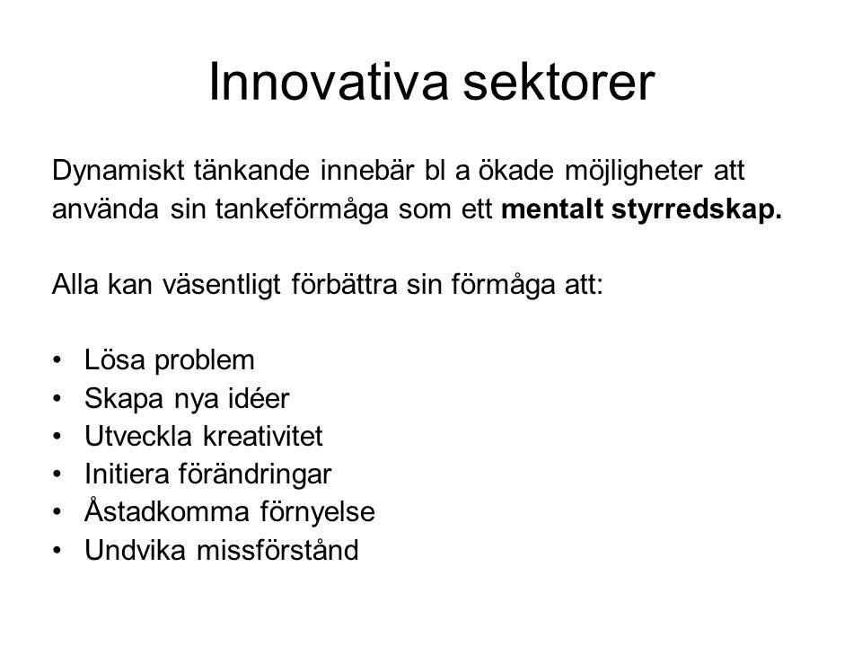 Innovativa sektorer Dynamiskt tänkande innebär bl a ökade möjligheter att. använda sin tankeförmåga som ett mentalt styrredskap.