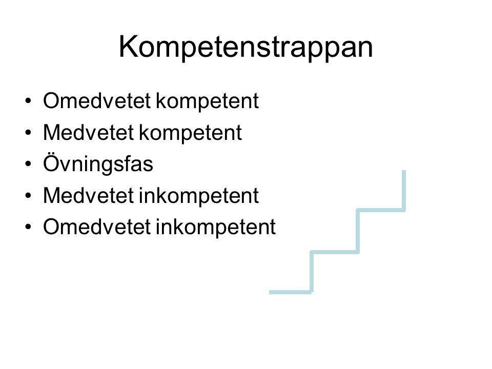 Kompetenstrappan Omedvetet kompetent Medvetet kompetent Övningsfas