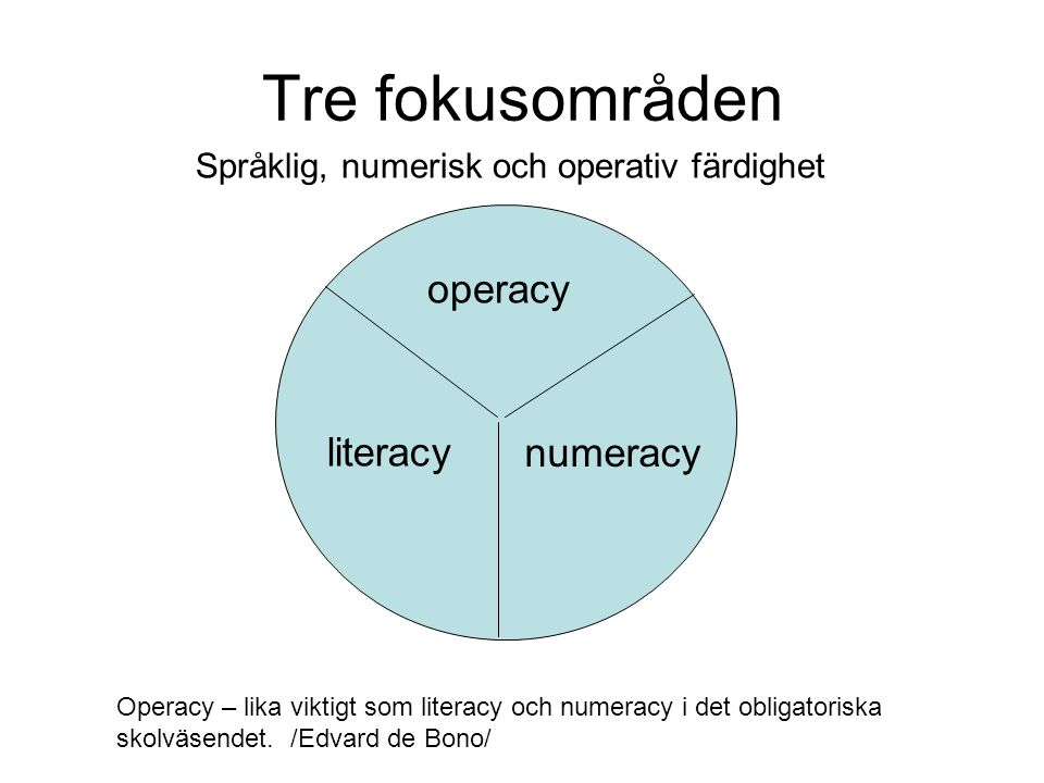 Tre fokusområden operacy literacy numeracy