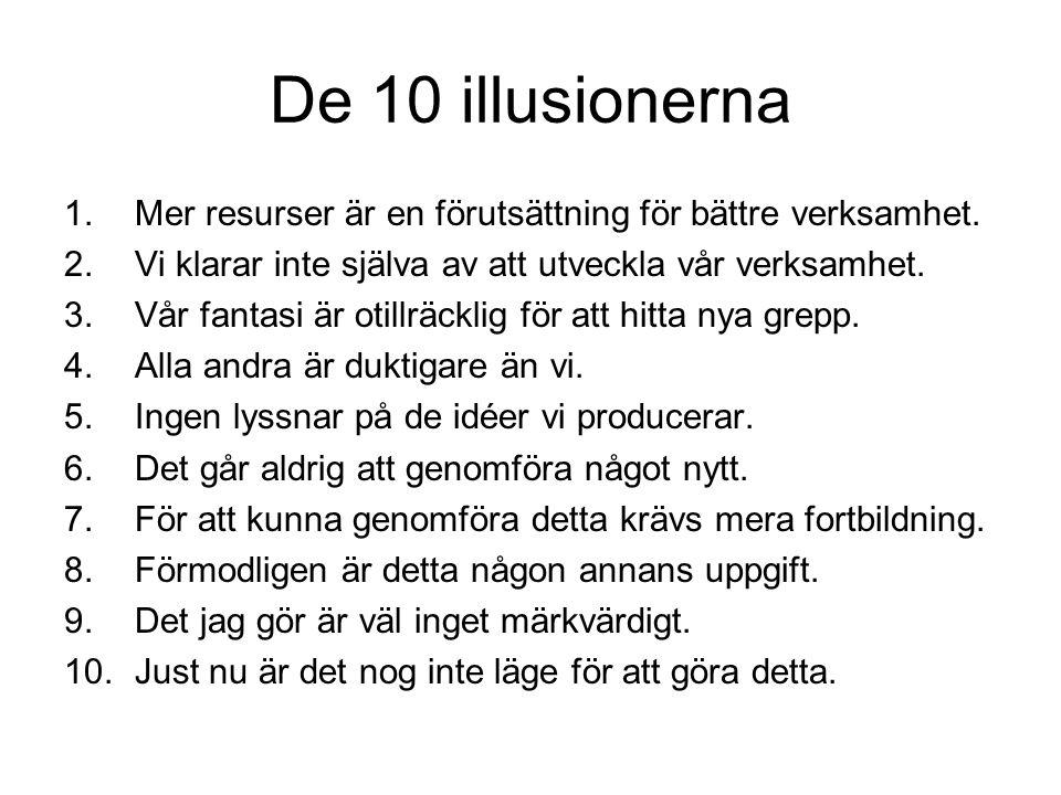 De 10 illusionerna Mer resurser är en förutsättning för bättre verksamhet. Vi klarar inte själva av att utveckla vår verksamhet.