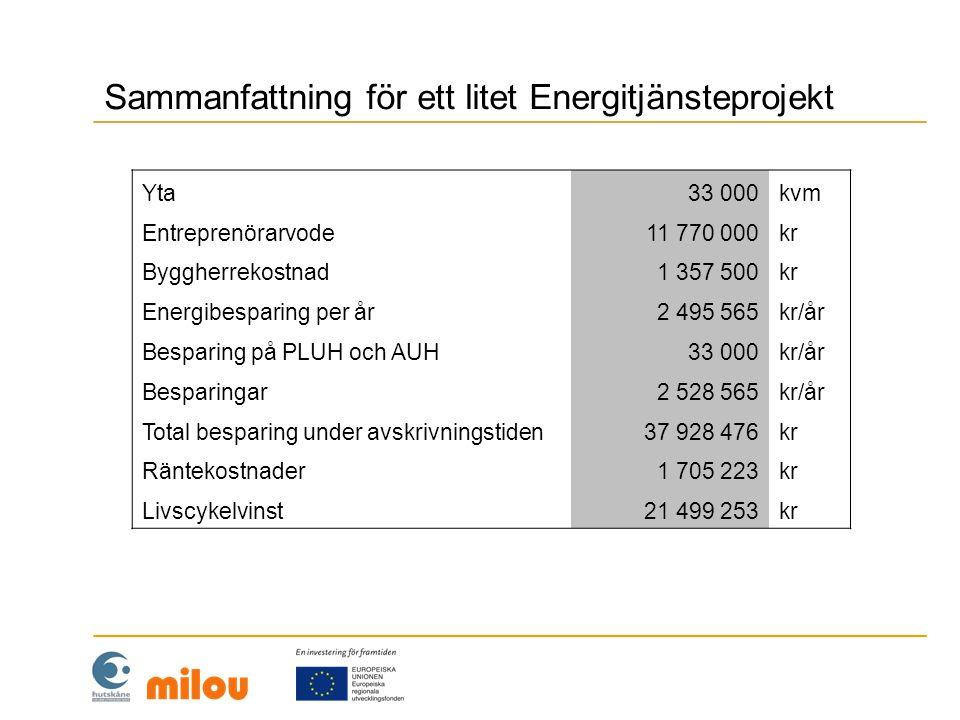 Sammanfattning för ett litet Energitjänsteprojekt