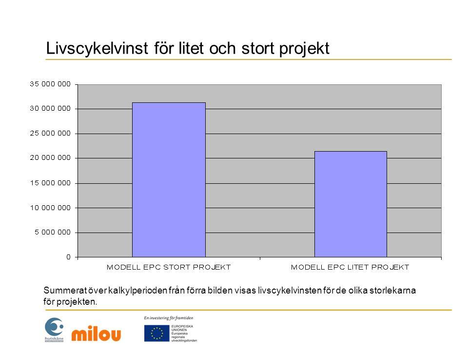 Livscykelvinst för litet och stort projekt