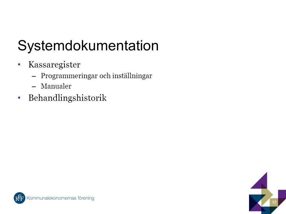 Systemdokumentation Kassaregister Behandlingshistorik
