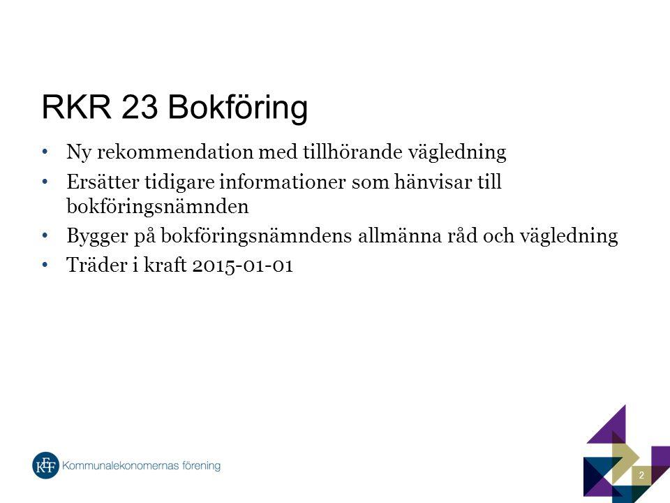 RKR 23 Bokföring Ny rekommendation med tillhörande vägledning