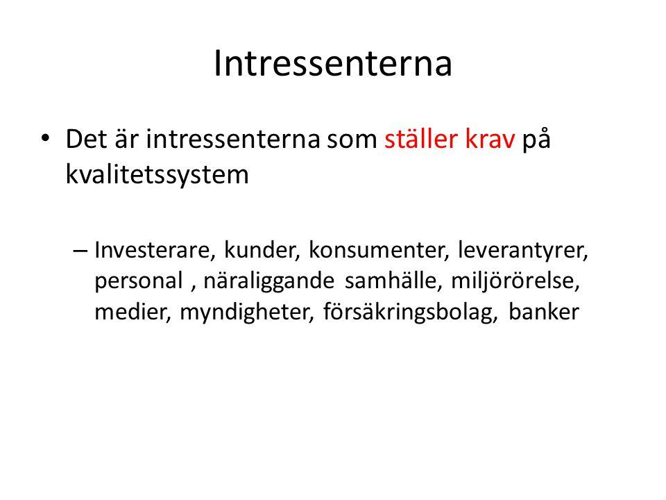 Intressenterna Det är intressenterna som ställer krav på kvalitetssystem.