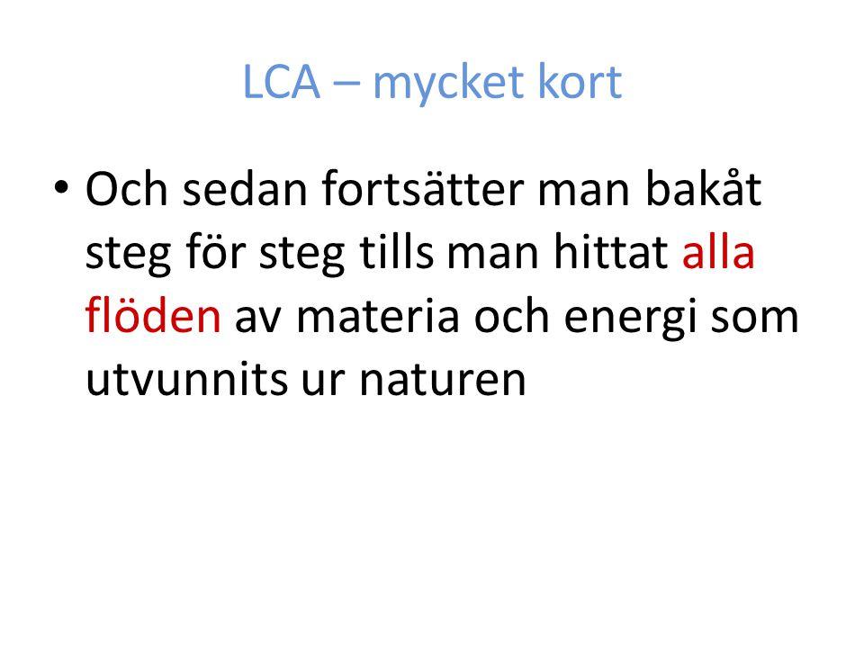 LCA – mycket kort Och sedan fortsätter man bakåt steg för steg tills man hittat alla flöden av materia och energi som utvunnits ur naturen.