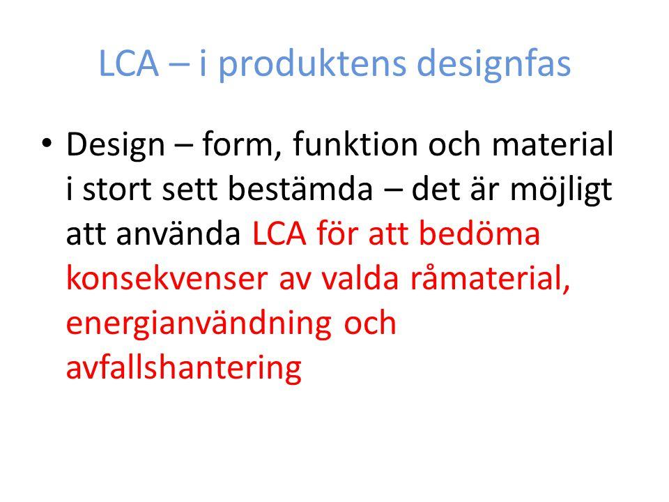 LCA – i produktens designfas