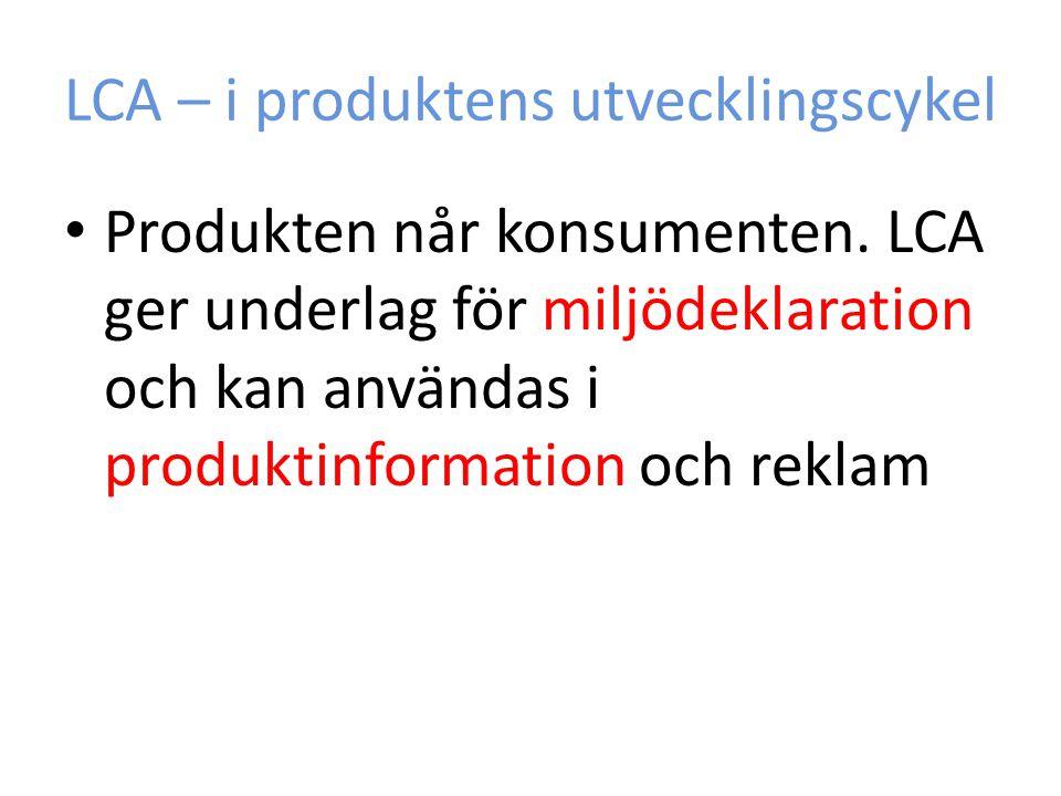 LCA – i produktens utvecklingscykel
