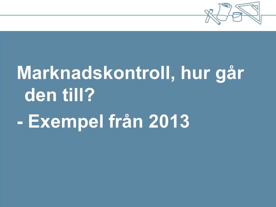 Marknadskontroll, hur går den till - Exempel från 2013
