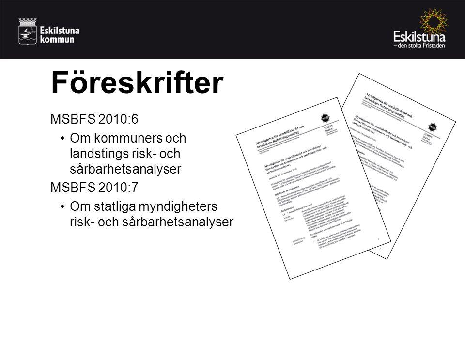 Föreskrifter MSBFS 2010:6. Om kommuners och landstings risk- och sårbarhetsanalyser. MSBFS 2010:7.