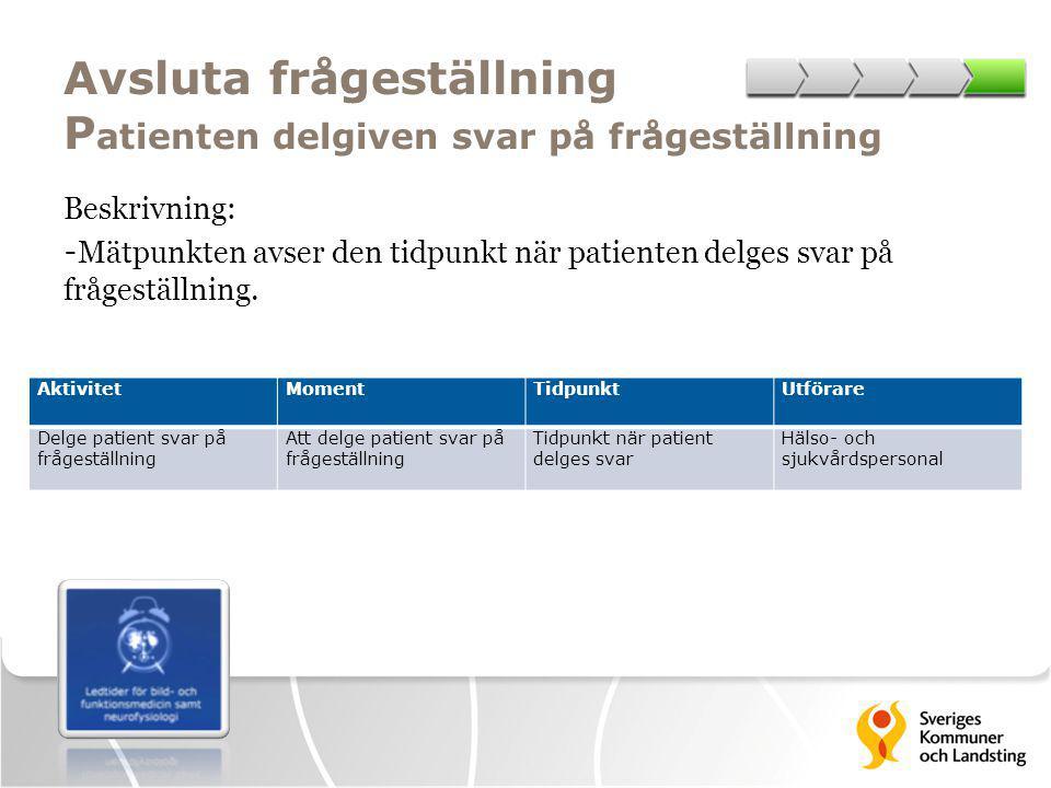 Avsluta frågeställning Patienten delgiven svar på frågeställning