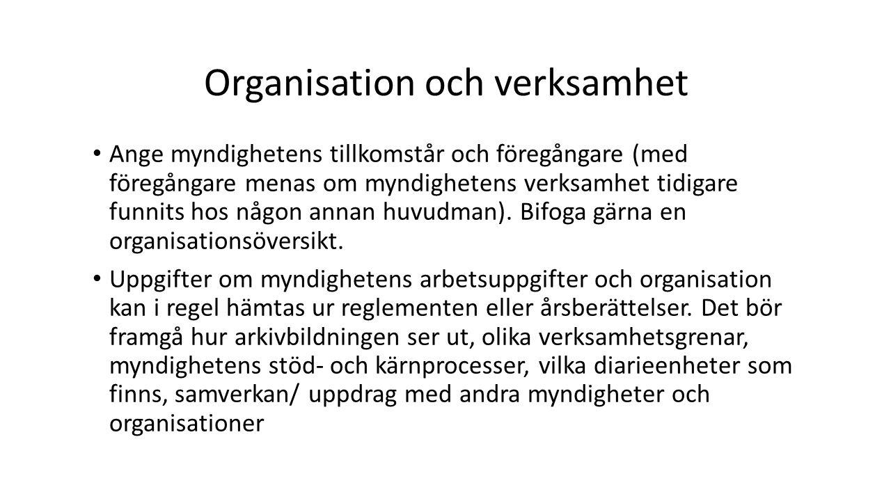 Organisation och verksamhet