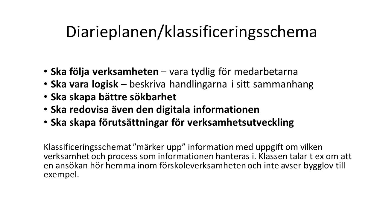 Diarieplanen/klassificeringsschema