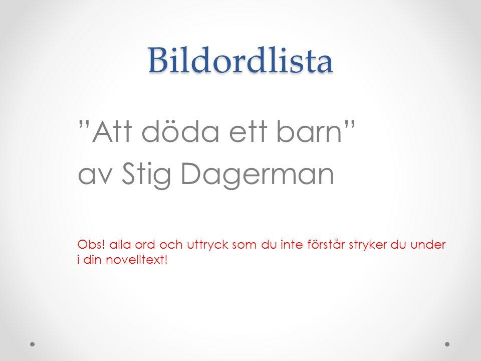 Bildordlista Att döda ett barn av Stig Dagerman