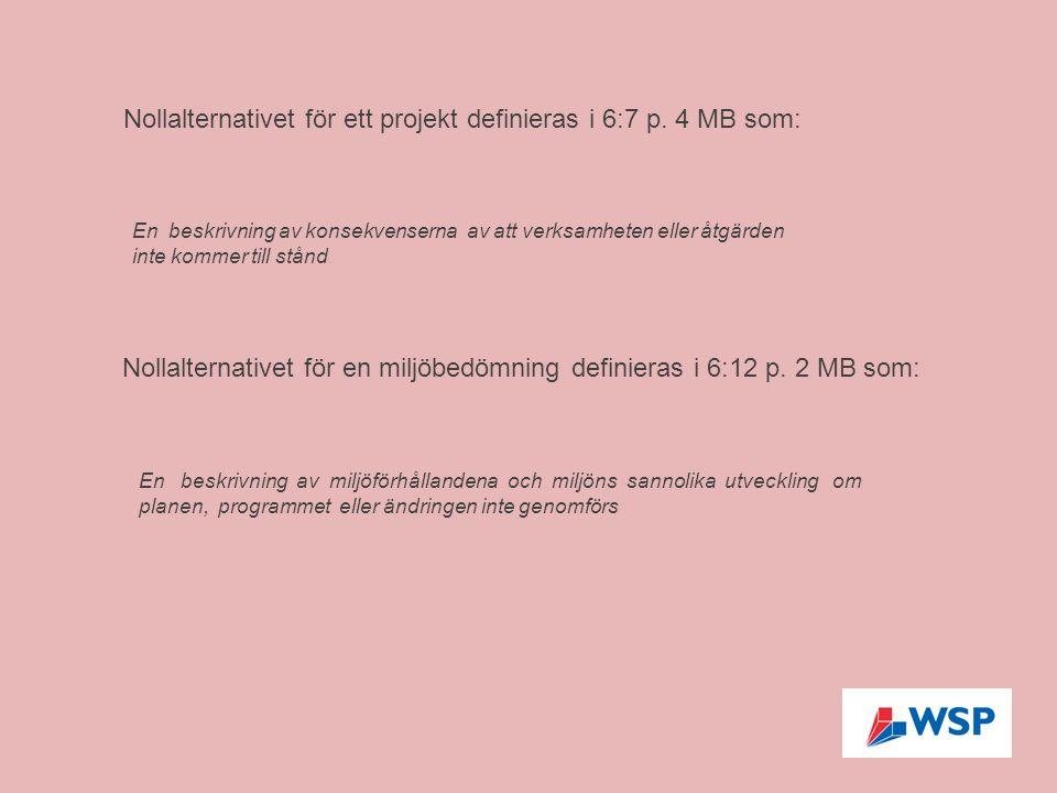 Nollalternativet för ett projekt definieras i 6:7 p. 4 MB som: