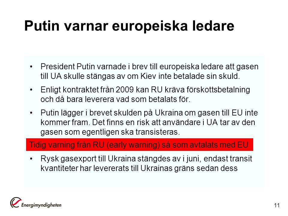 Putin varnar europeiska ledare