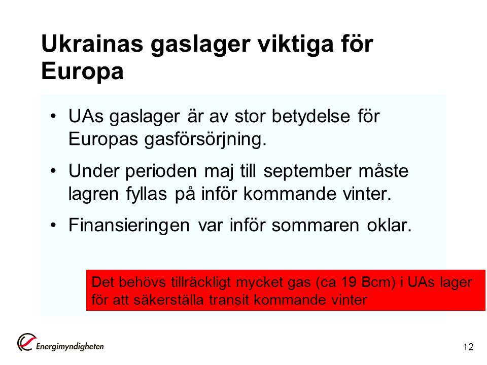 Ukrainas gaslager viktiga för Europa
