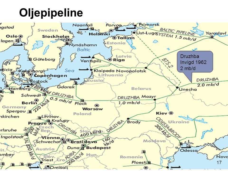 Oljepipeline Druzhba Invigd 1962 2 mb/d