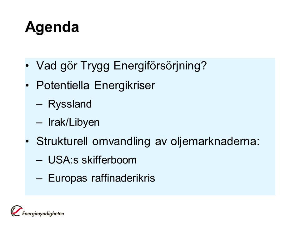 Agenda Vad gör Trygg Energiförsörjning Potentiella Energikriser