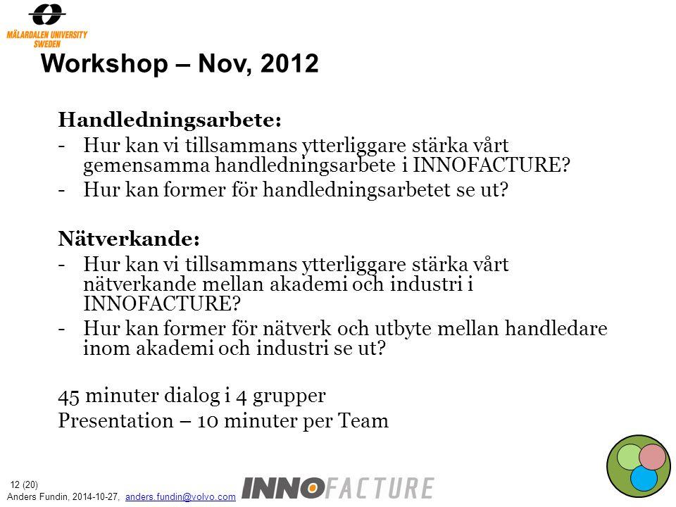 Workshop – Nov, 2012 Handledningsarbete: