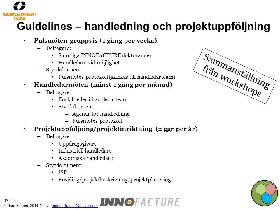 Guidelines – handledning och projektuppföljning
