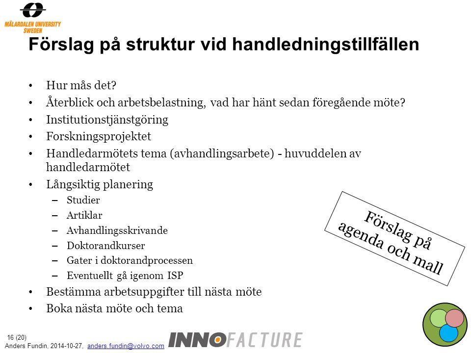Förslag på struktur vid handledningstillfällen