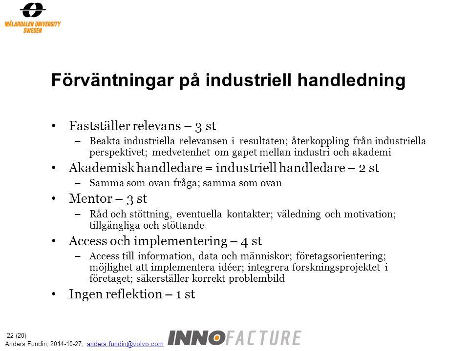 Förväntningar på industriell handledning