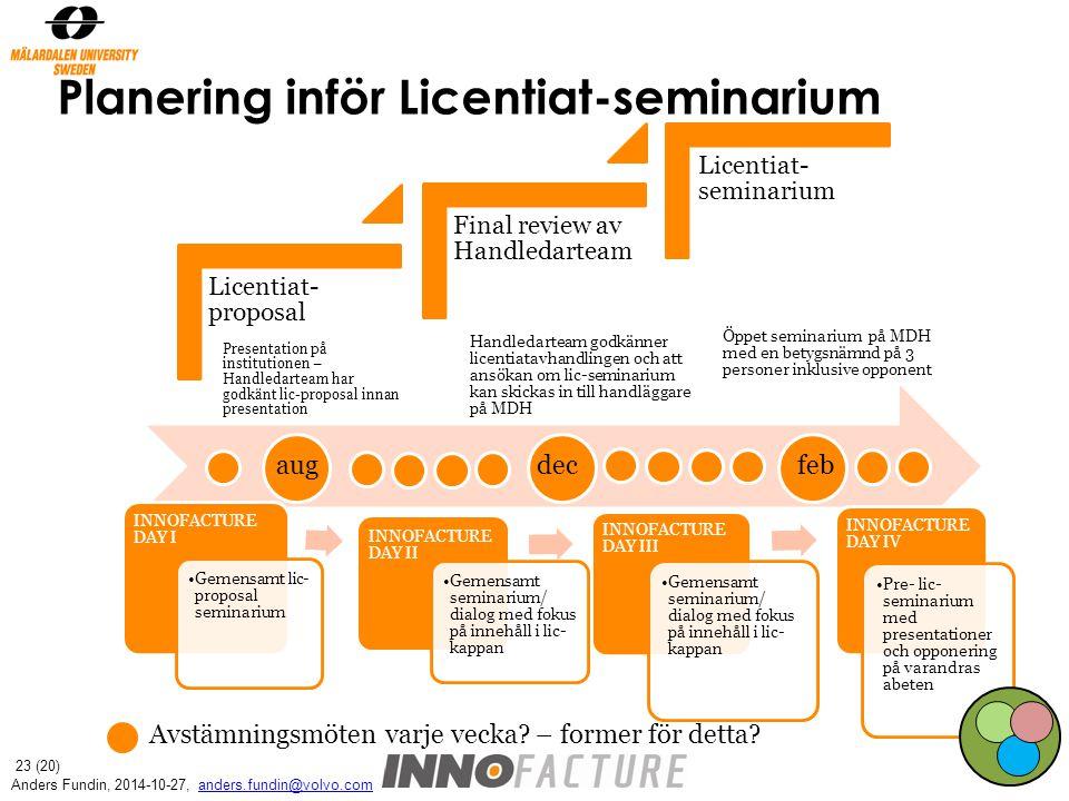 Planering inför Licentiat-seminarium