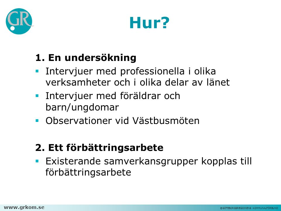 Hur 1. En undersökning. Intervjuer med professionella i olika verksamheter och i olika delar av länet.