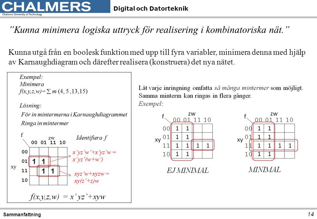 Kunna minimera logiska uttryck för realisering i kombinatoriska nät.
