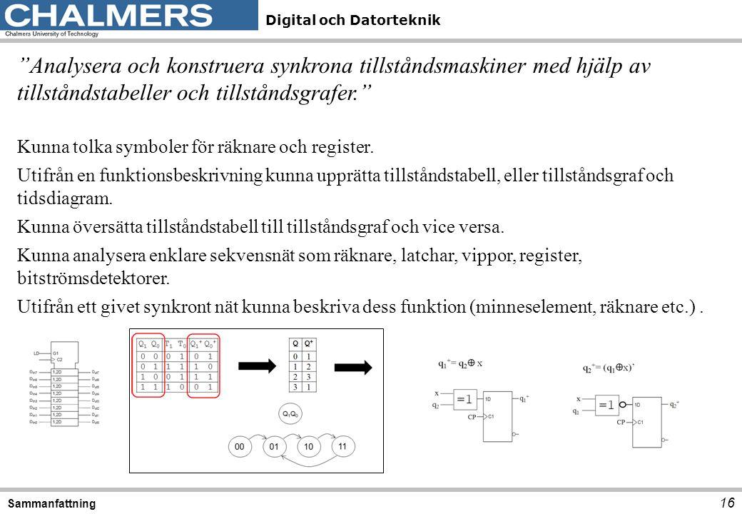 Analysera och konstruera synkrona tillståndsmaskiner med hjälp av tillståndstabeller och tillståndsgrafer.