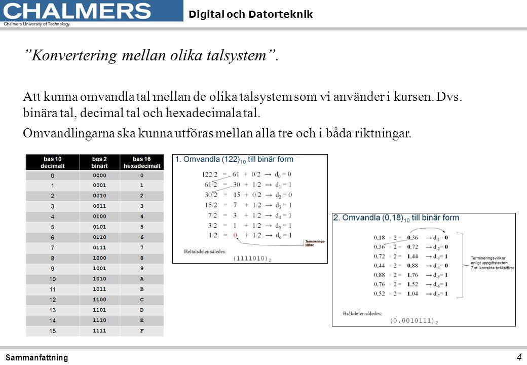 Konvertering mellan olika talsystem .