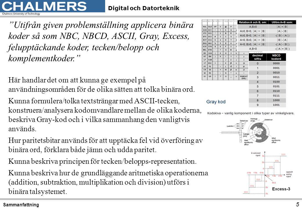 Utifrån given problemställning applicera binära koder så som NBC, NBCD, ASCII, Gray, Excess, felupptäckande koder, tecken/belopp och komplementkoder.
