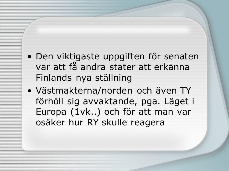 Den viktigaste uppgiften för senaten var att få andra stater att erkänna Finlands nya ställning