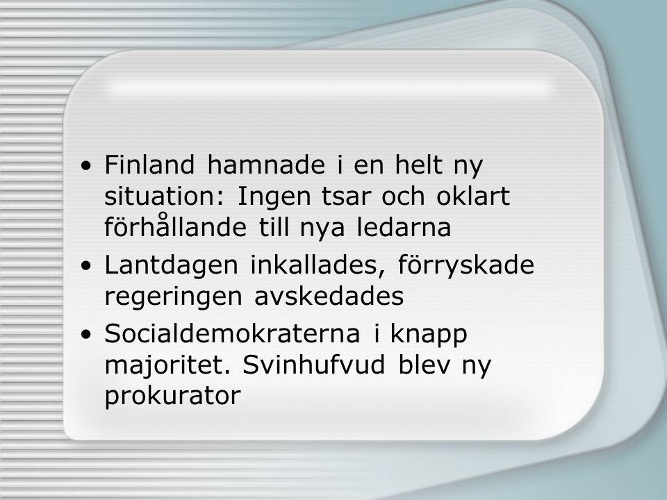 Finland hamnade i en helt ny situation: Ingen tsar och oklart förhållande till nya ledarna