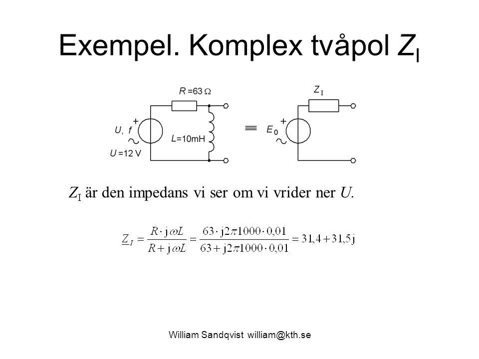 Exempel. Komplex tvåpol ZI