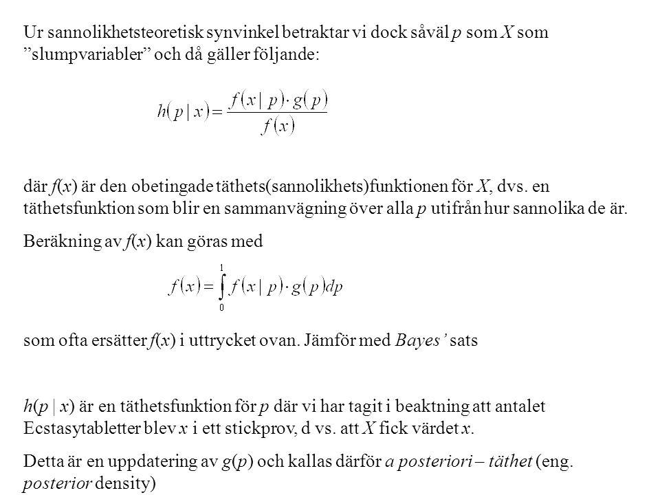 Ur sannolikhetsteoretisk synvinkel betraktar vi dock såväl p som X som slumpvariabler och då gäller följande: