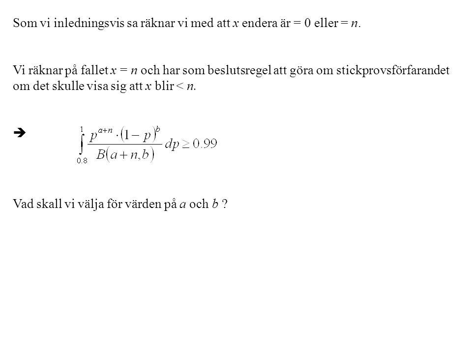 Som vi inledningsvis sa räknar vi med att x endera är = 0 eller = n.