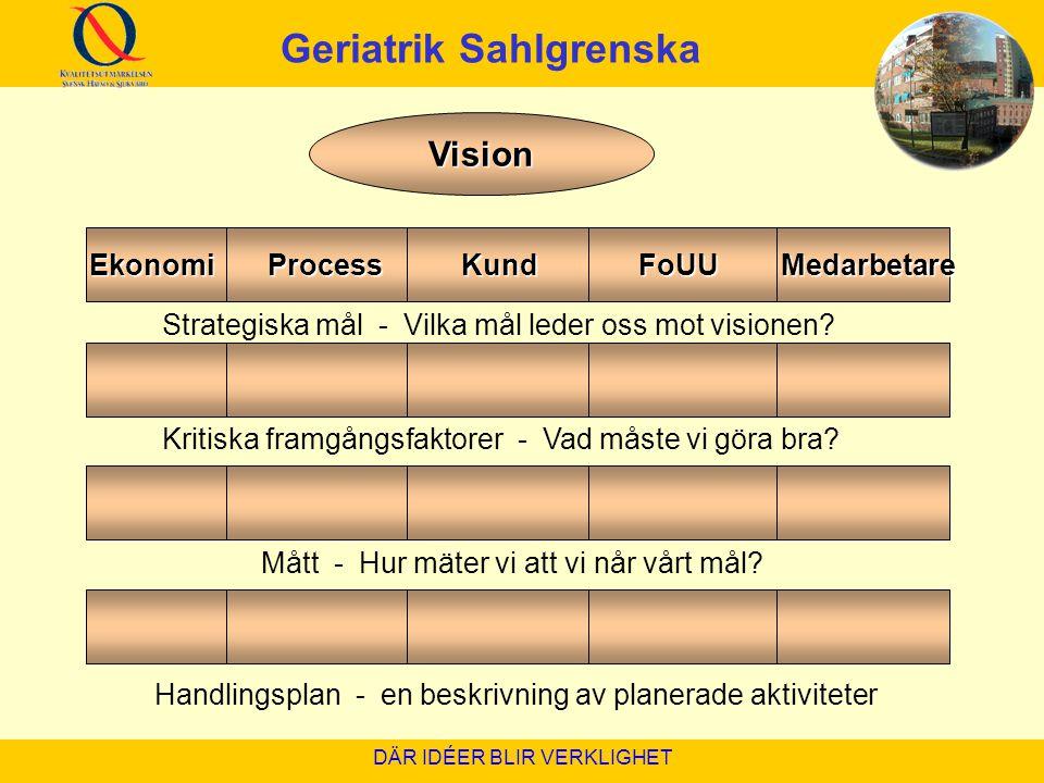 Geriatrik Sahlgrenska Ekonomi Process Kund FoUU Medarbetare