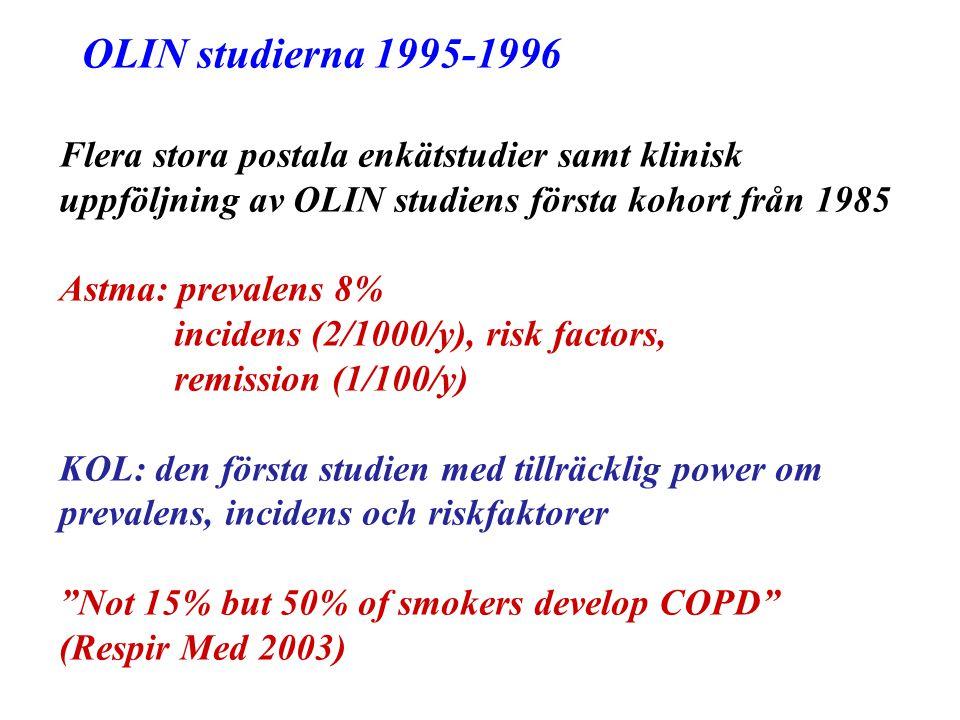 OLIN studierna 1995-1996 Flera stora postala enkätstudier samt klinisk uppföljning av OLIN studiens första kohort från 1985.