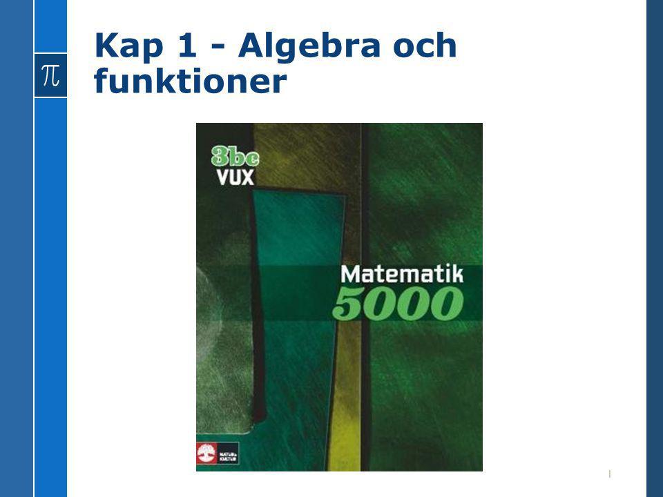 Kap 1 - Algebra och funktioner