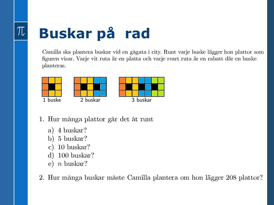Buskar på rad Y = 5x + 3