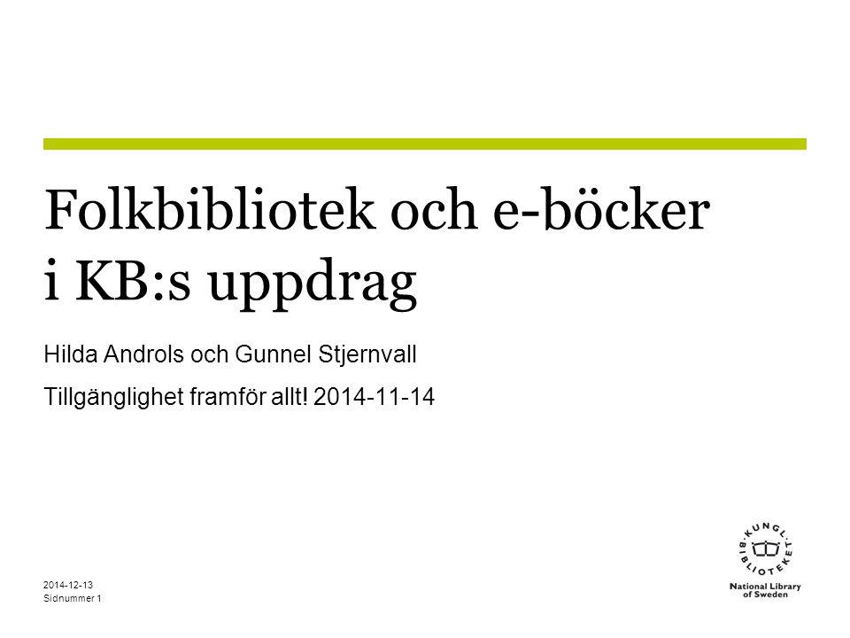 Folkbibliotek och e-böcker i KB:s uppdrag