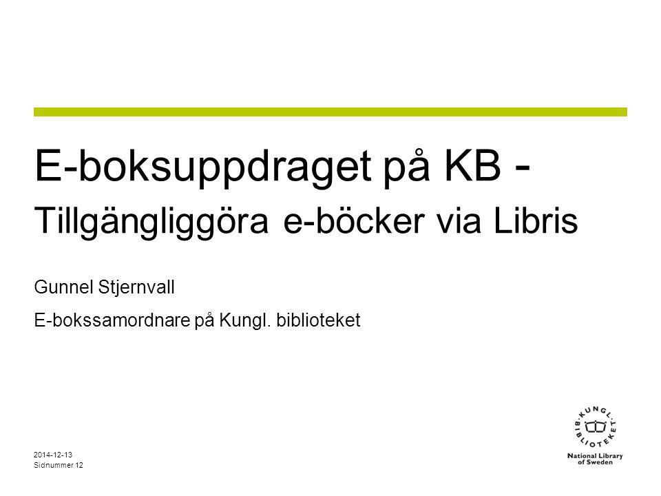 E-boksuppdraget på KB - Tillgängliggöra e-böcker via Libris