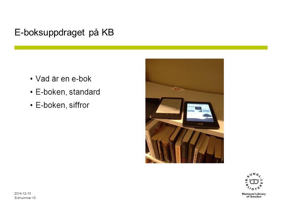 E-boksuppdraget på KB Vad är en e-bok E-boken, standard